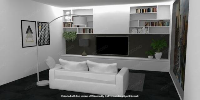 Progettazione d'interni 3D soggiorno su misura Seregno Monza e Brianza Milano