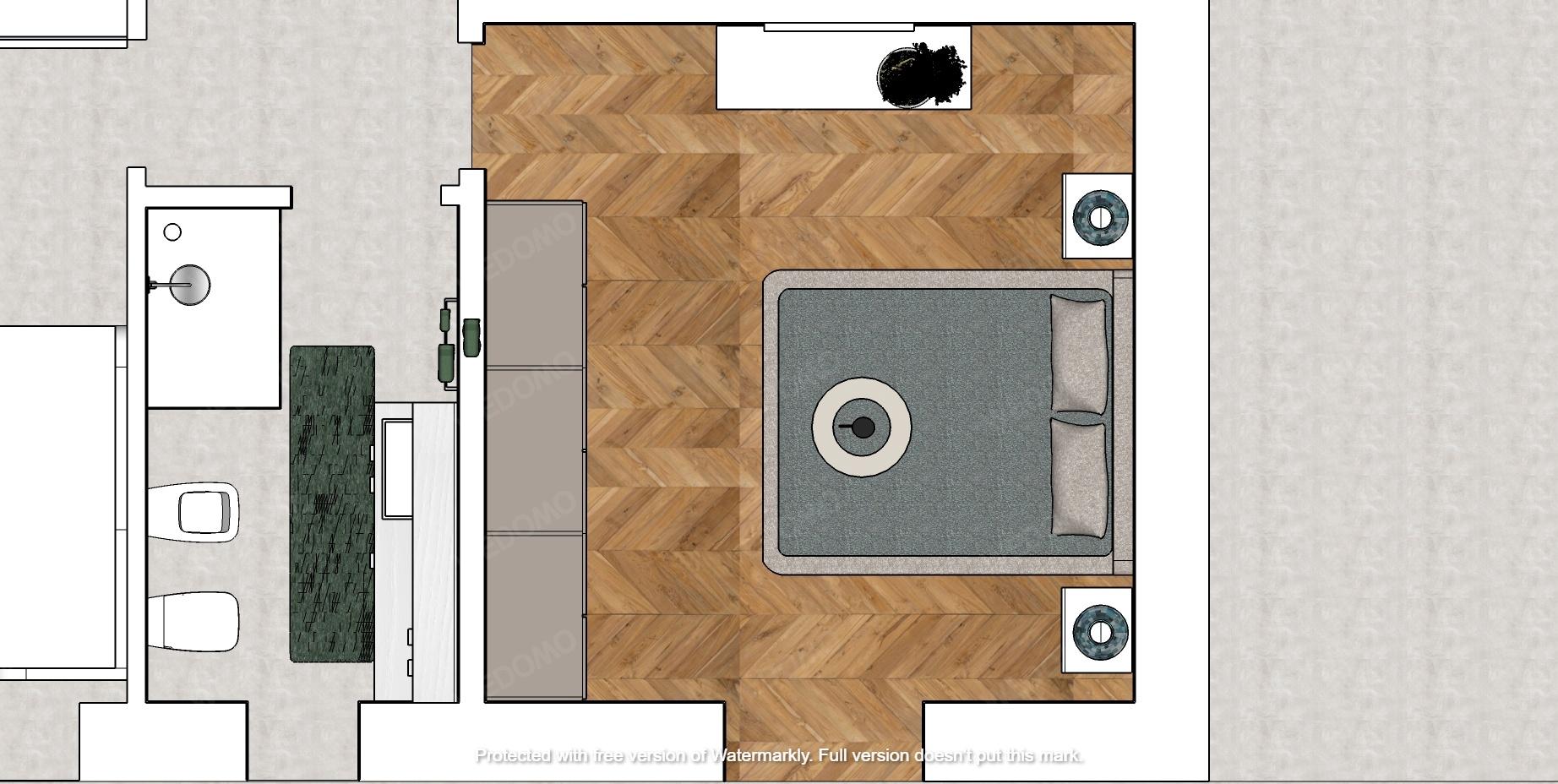 Progetto planimetria bagno monolocale soggiorno 3D Seregno Monza Milano