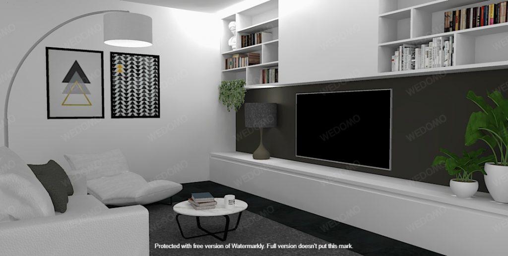 Progettazione 3D arredamento soggiorno su misura Wedomo